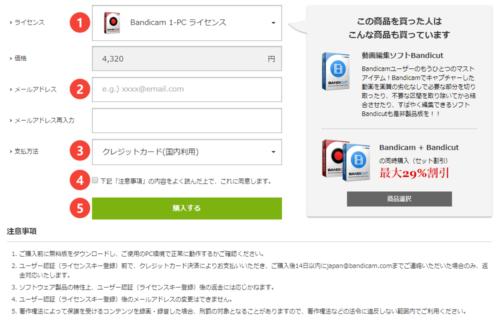 Bandicam 製品版を購入する手順3