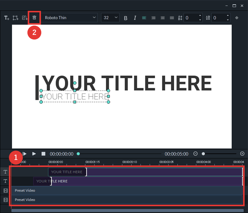 filmora9 テキスト・図形・画像を削除