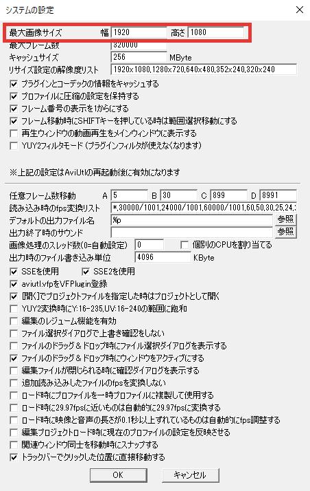 AviUtl システムの設定 最大画像サイズ